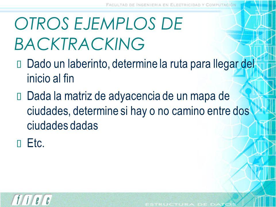 OTROS EJEMPLOS DE BACKTRACKING