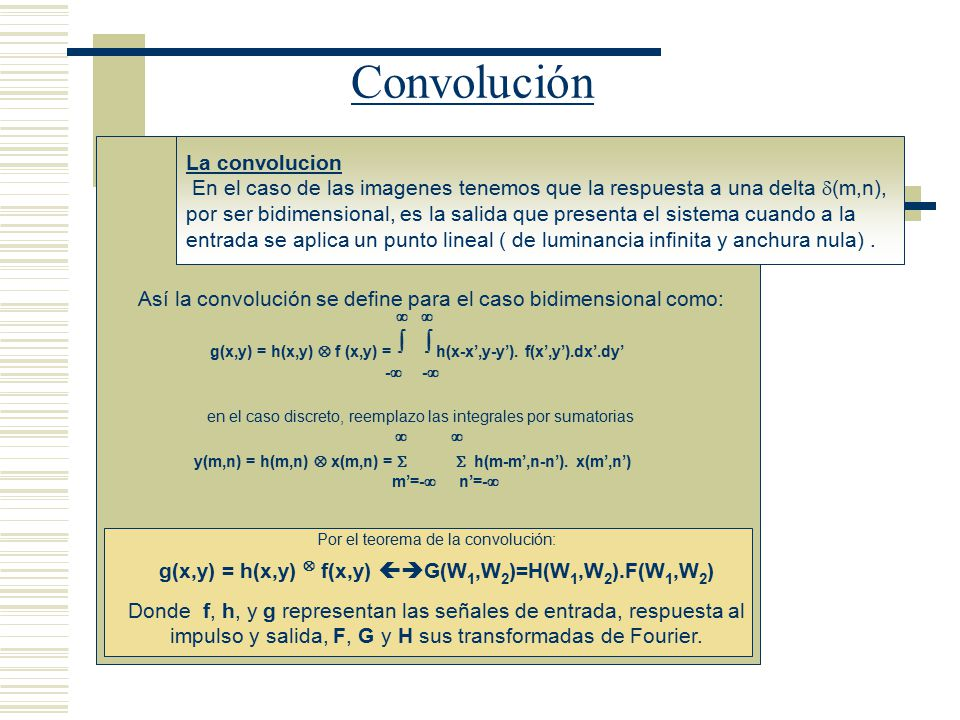 g(x,y) = h(x,y)  f(x,y) G(W1,W2)=H(W1,W2).F(W1,W2)