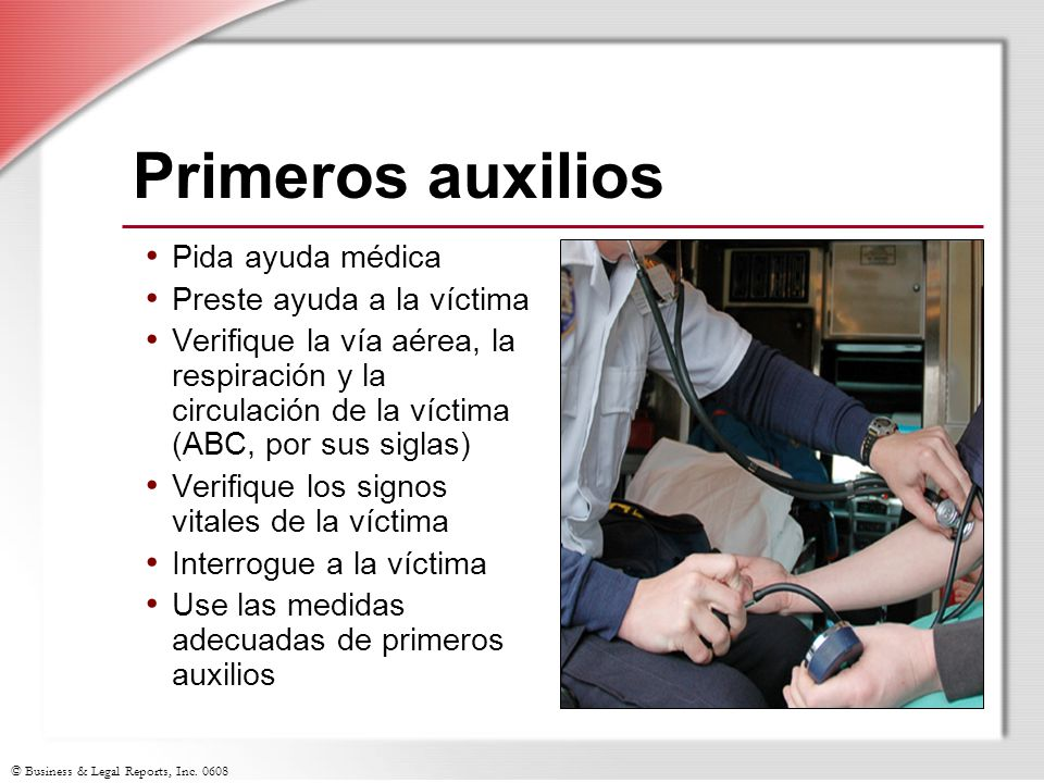 Primeros auxilios Pida ayuda médica Preste ayuda a la víctima