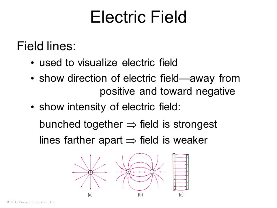 Electric Field Field lines: bunched together  field is strongest