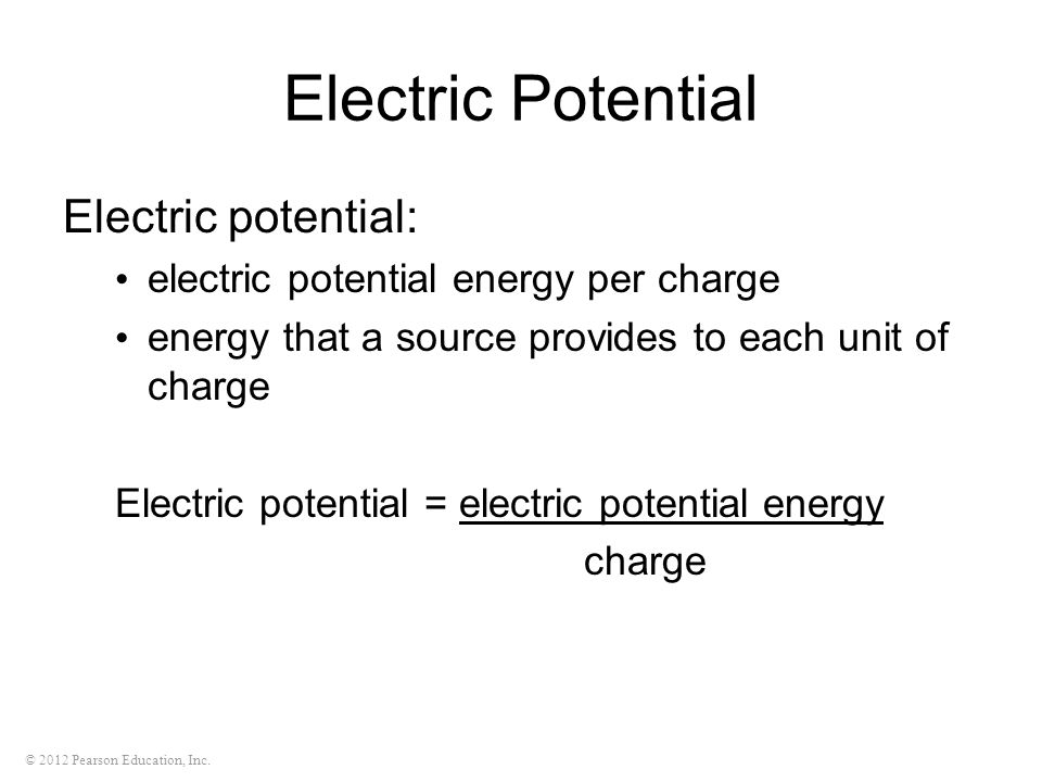 Electric Potential Electric potential: