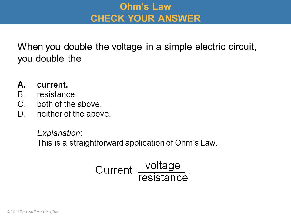 Ohm's Law CHECK YOUR ANSWER