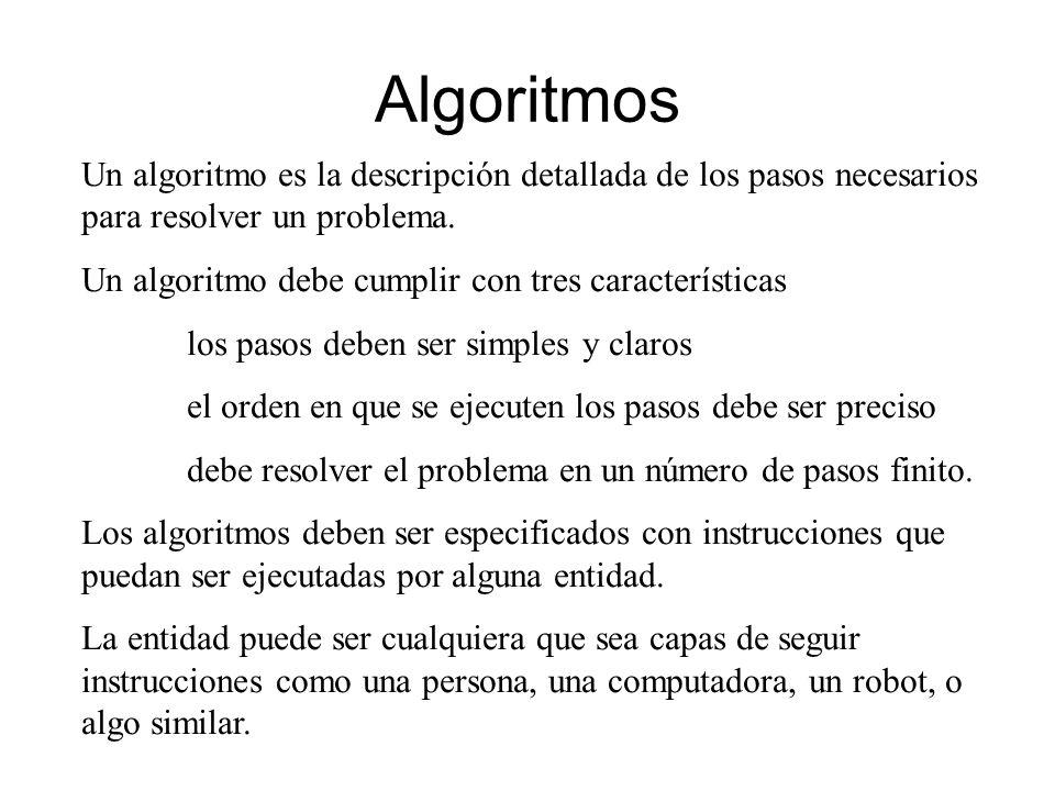 Algoritmos Un algoritmo es la descripción detallada de los pasos necesarios para resolver un problema.