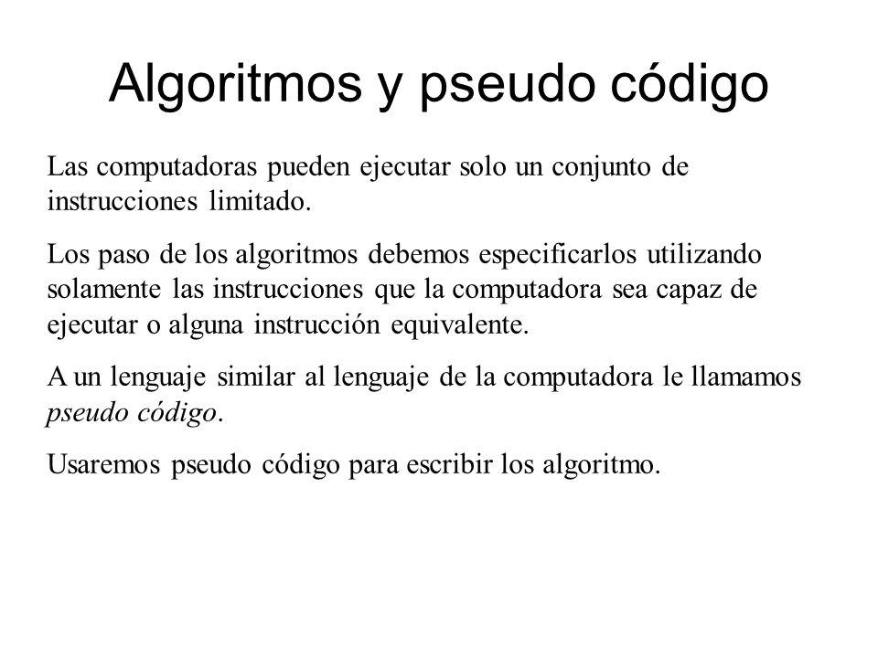 Algoritmos y pseudo código