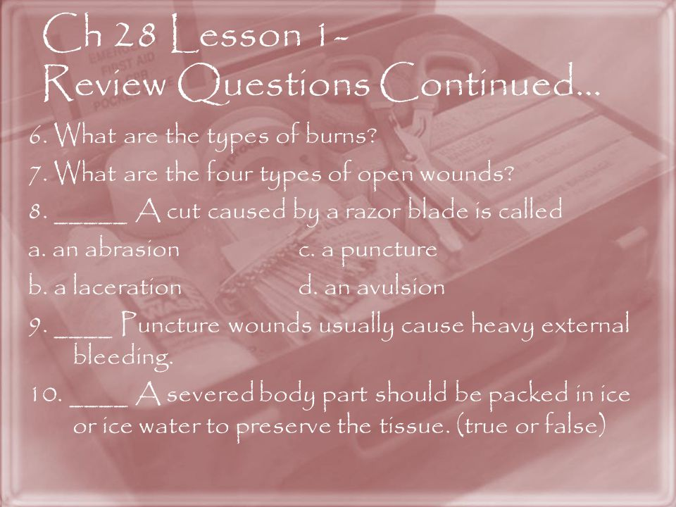 Ch 28 Lesson 1- Review Questions Continued…