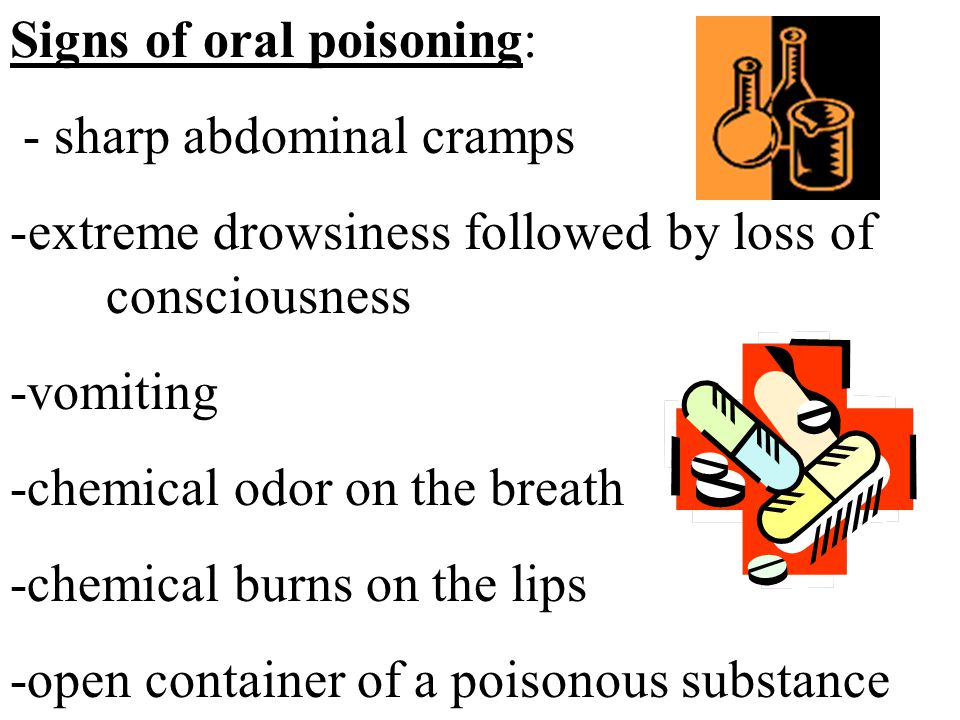 Signs of oral poisoning: