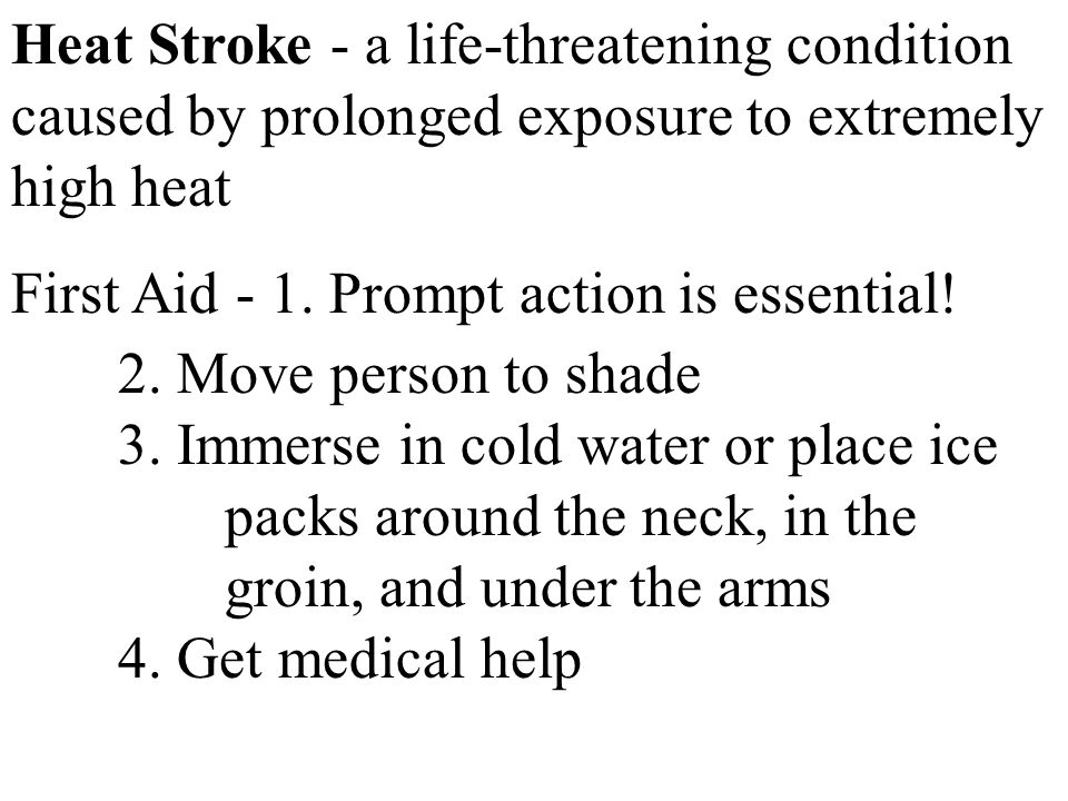 Heat Stroke - a life-threatening condition caused by prolonged exposure to extremely high heat