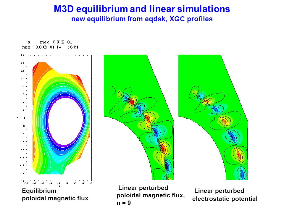 M3D equilibrium and linear simulations new equilibrium from eqdsk, XGC profiles
