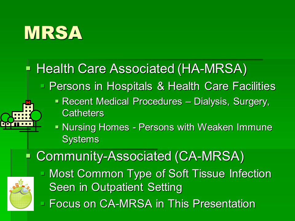 MRSA Health Care Associated (HA-MRSA) Community-Associated (CA-MRSA)
