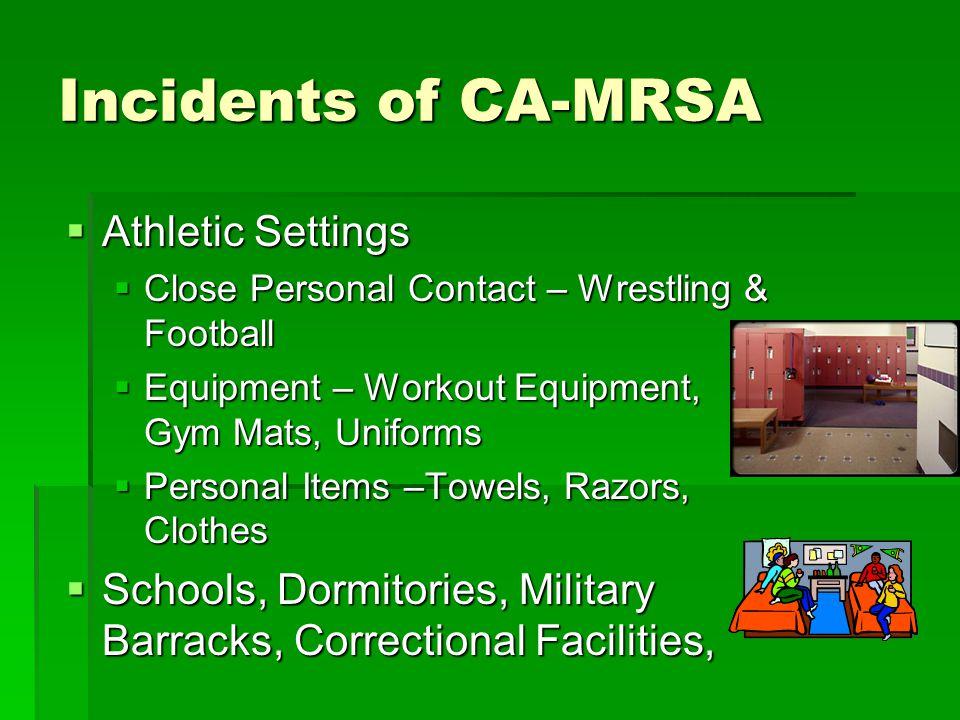Incidents of CA-MRSA Athletic Settings