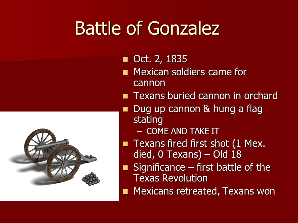 Battle of Gonzalez Oct. 2, 1835 Mexican soldiers came for cannon