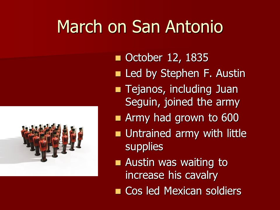 March on San Antonio October 12, 1835 Led by Stephen F. Austin