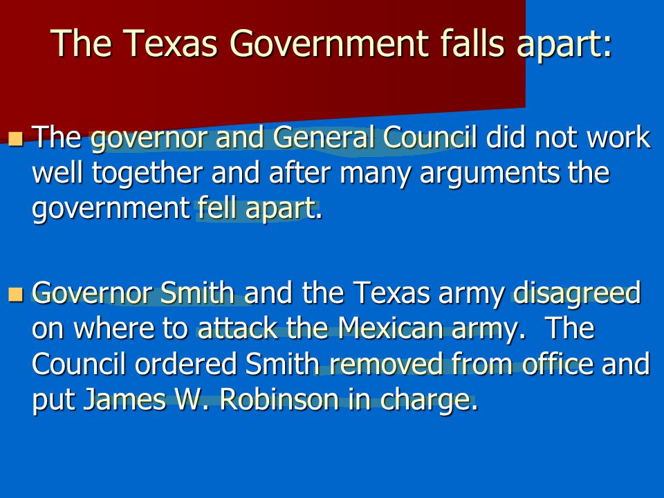 The Texas Government falls apart: