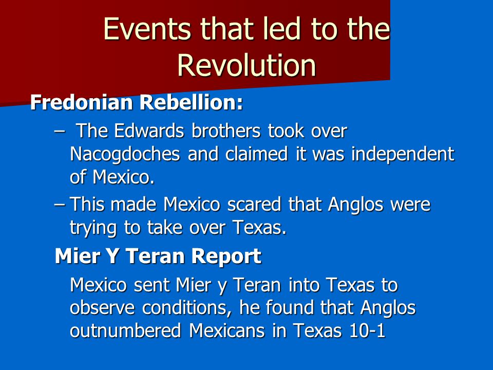 Events that led to the Revolution