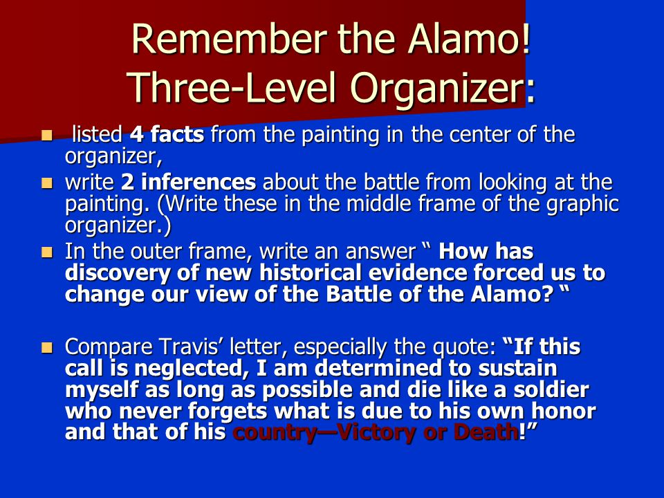 Remember the Alamo! Three-Level Organizer: