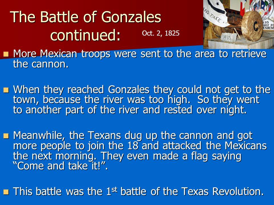 The Battle of Gonzales continued:
