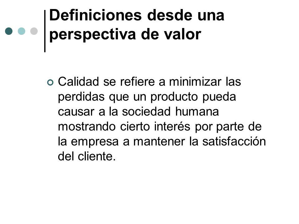 Definiciones desde una perspectiva de valor