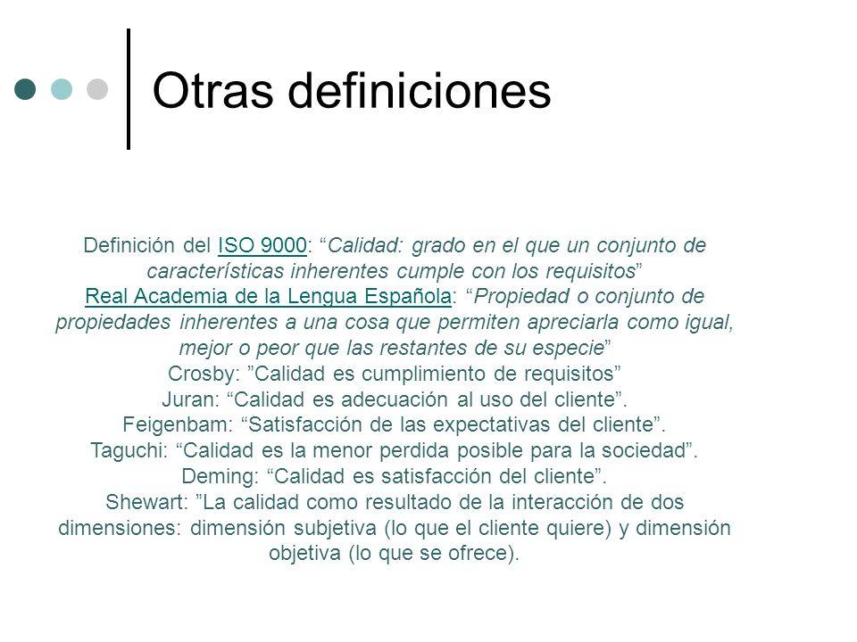Otras definiciones Definición del ISO 9000: Calidad: grado en el que un conjunto de características inherentes cumple con los requisitos