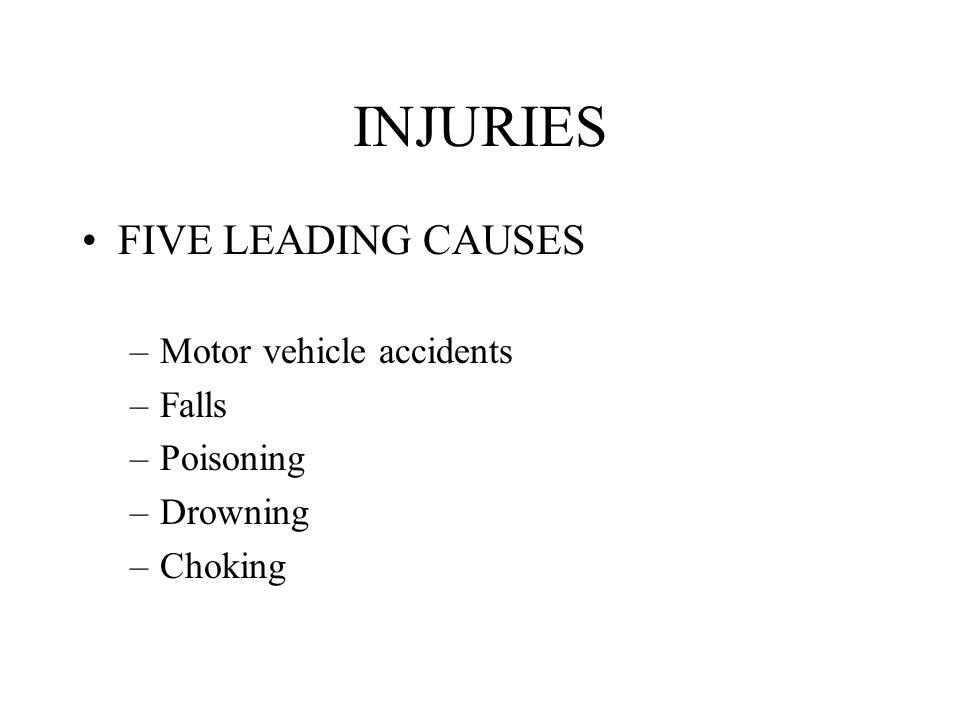INJURIES FIVE LEADING CAUSES Motor vehicle accidents Falls Poisoning
