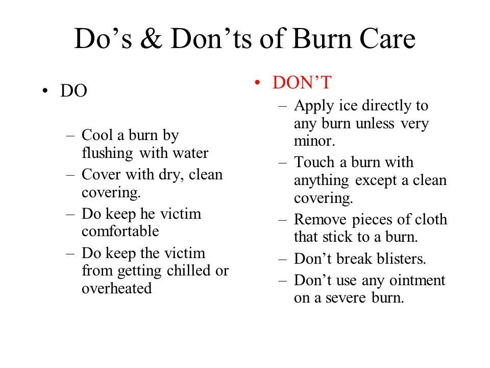 Do's & Don'ts of Burn Care