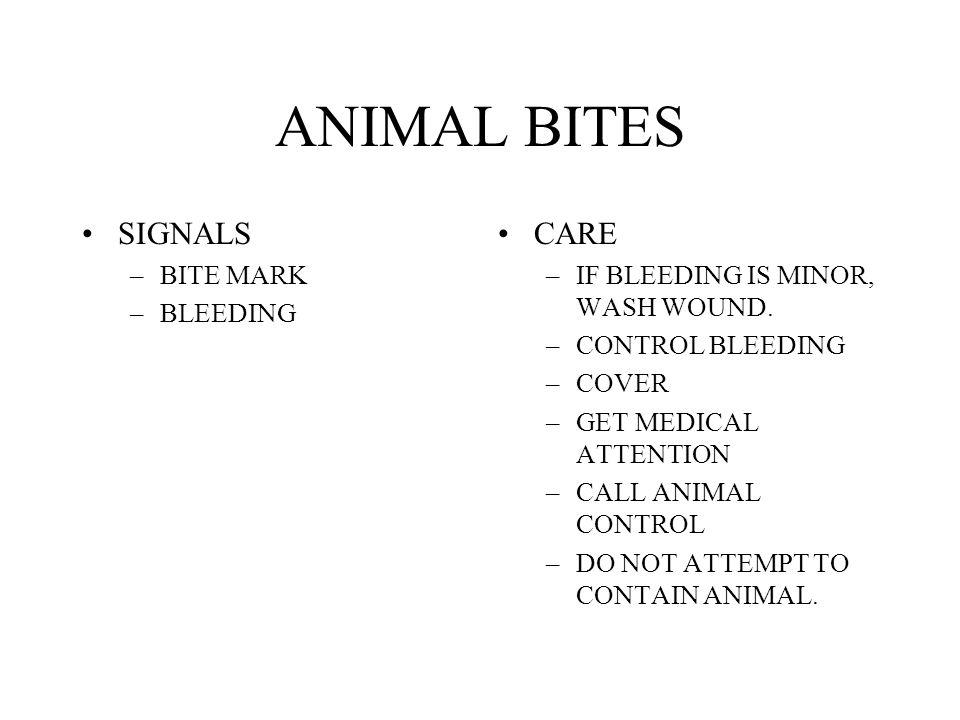 ANIMAL BITES SIGNALS CARE BITE MARK BLEEDING