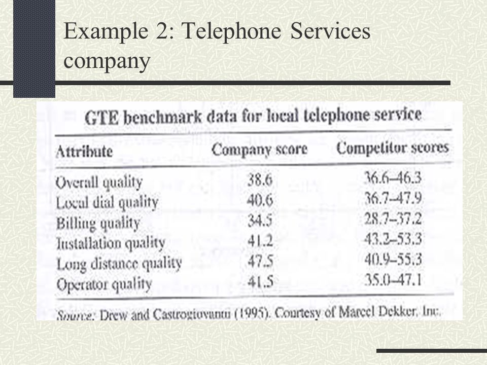 Example 2: Telephone Services company