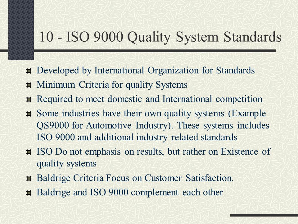 10 - ISO 9000 Quality System Standards