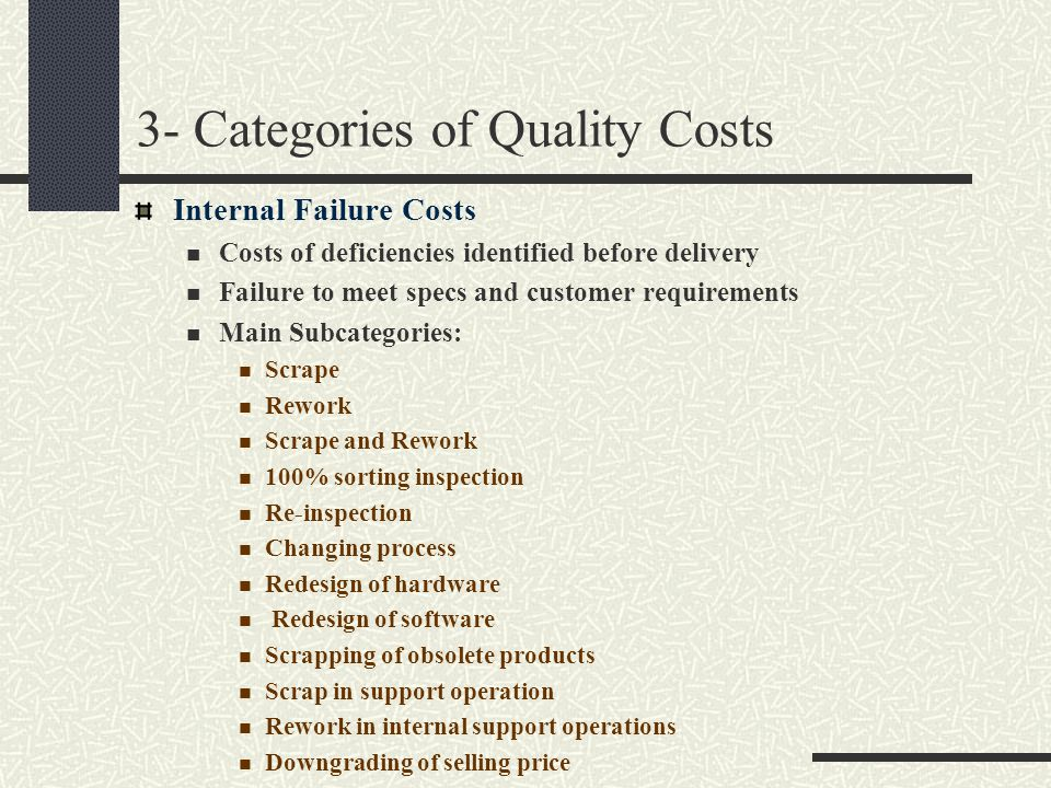 3- Categories of Quality Costs