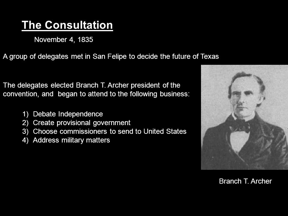The Consultation November 4, 1835