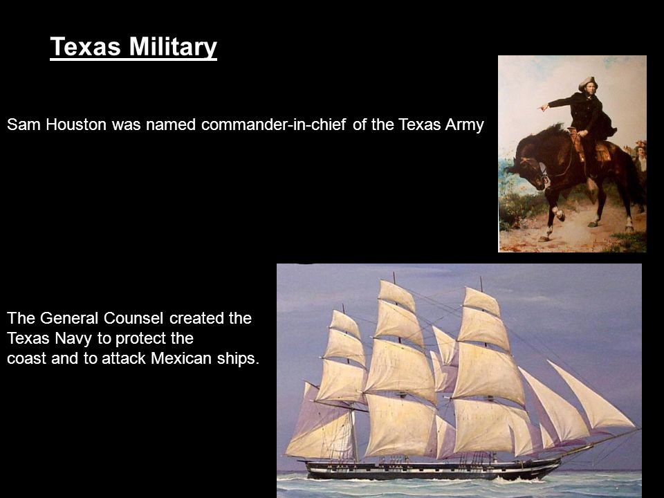 Texas Military Sam Houston was named commander-in-chief of the Texas Army. The General Counsel created the.