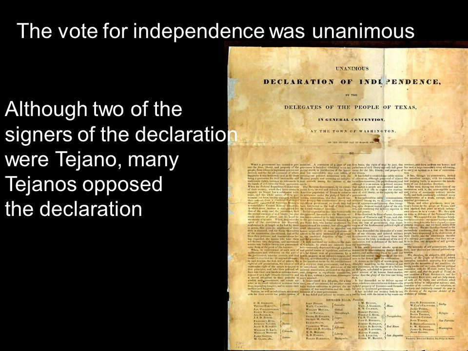 The vote for independence was unanimous