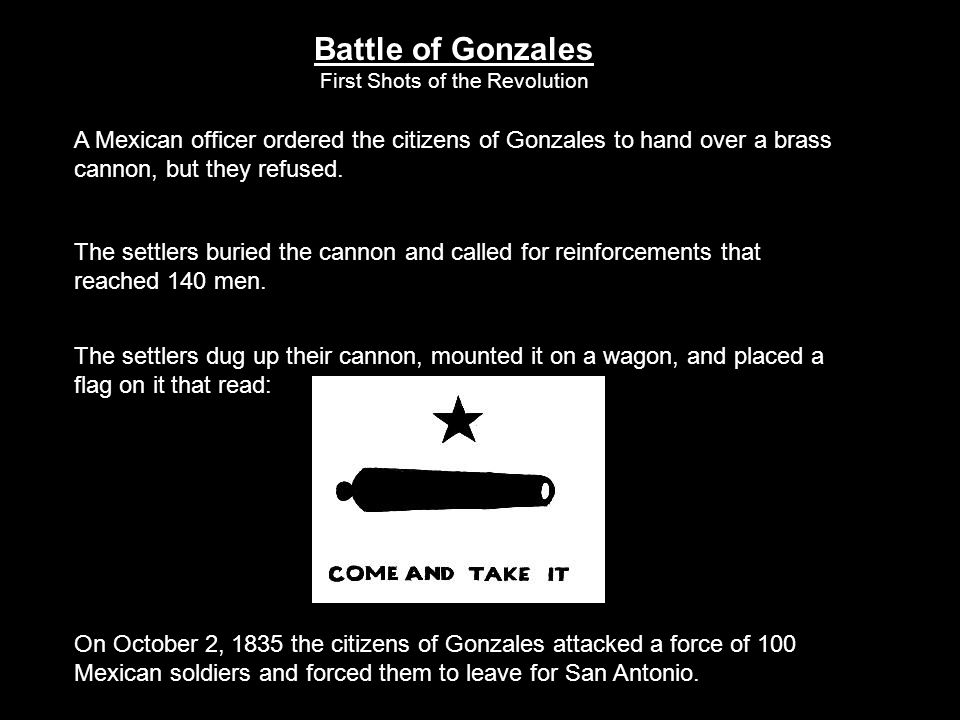 Battle of Gonzales First Shots of the Revolution. A Mexican officer ordered the citizens of Gonzales to hand over a brass cannon, but they refused.