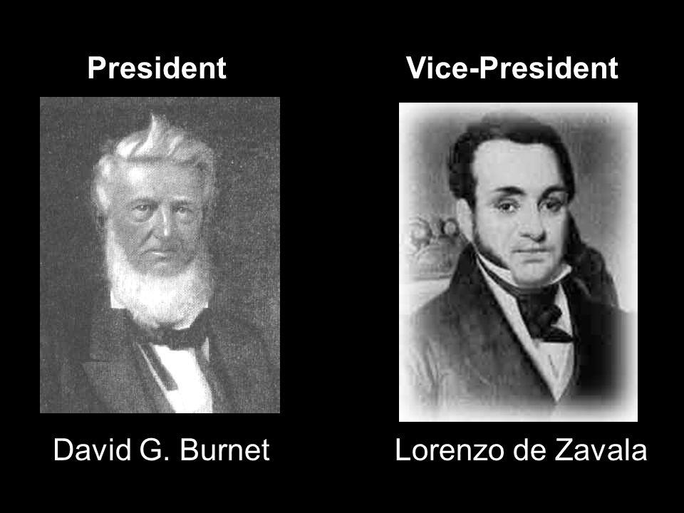 President Vice-President David G. Burnet Lorenzo de Zavala