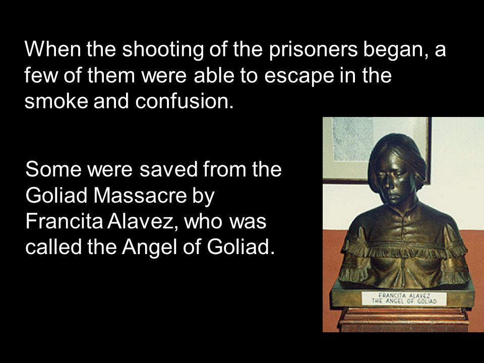 When the shooting of the prisoners began, a few of them were able to escape in the smoke and confusion.