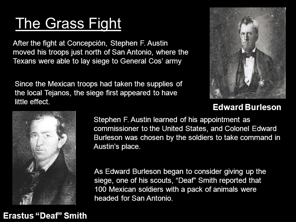 The Grass Fight Edward Burleson Erastus Deaf Smith