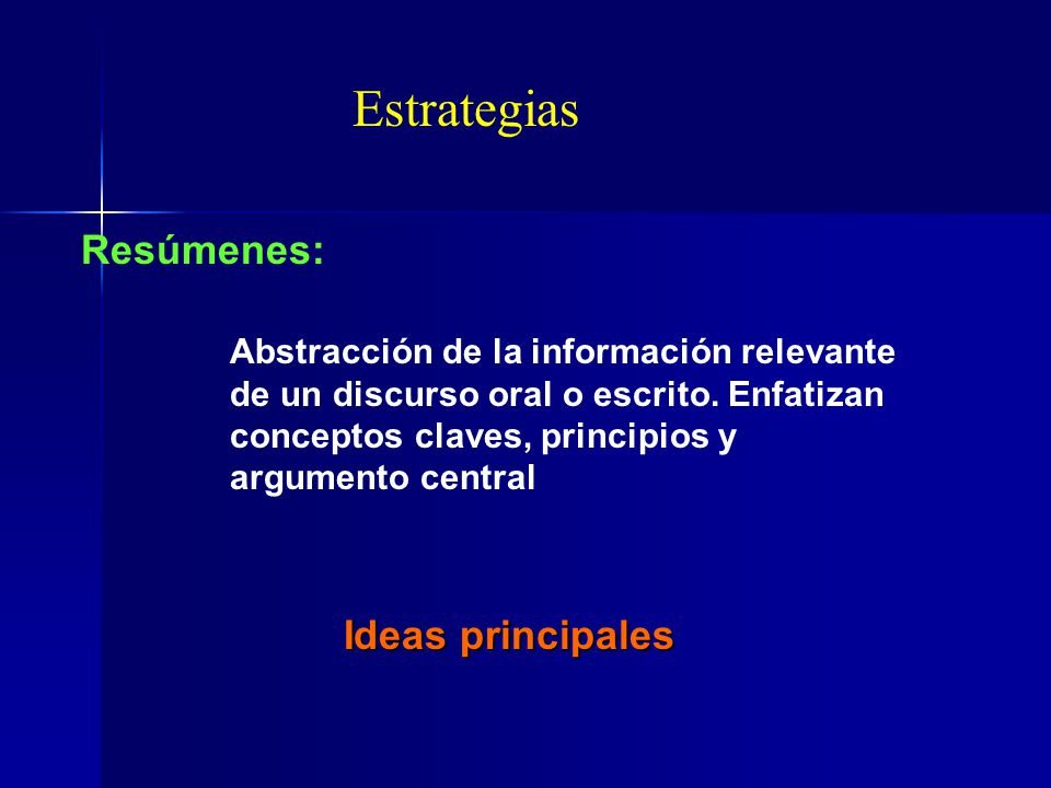 Estrategias Resúmenes: Ideas principales