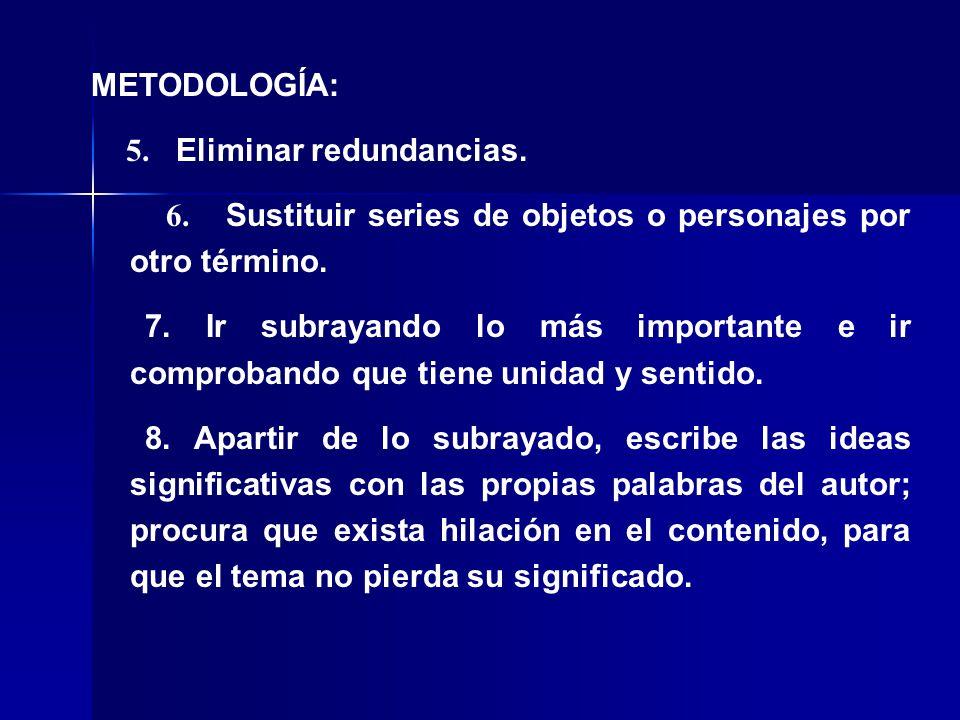 METODOLOGÍA: 5. Eliminar redundancias. 6. Sustituir series de objetos o personajes por otro término.