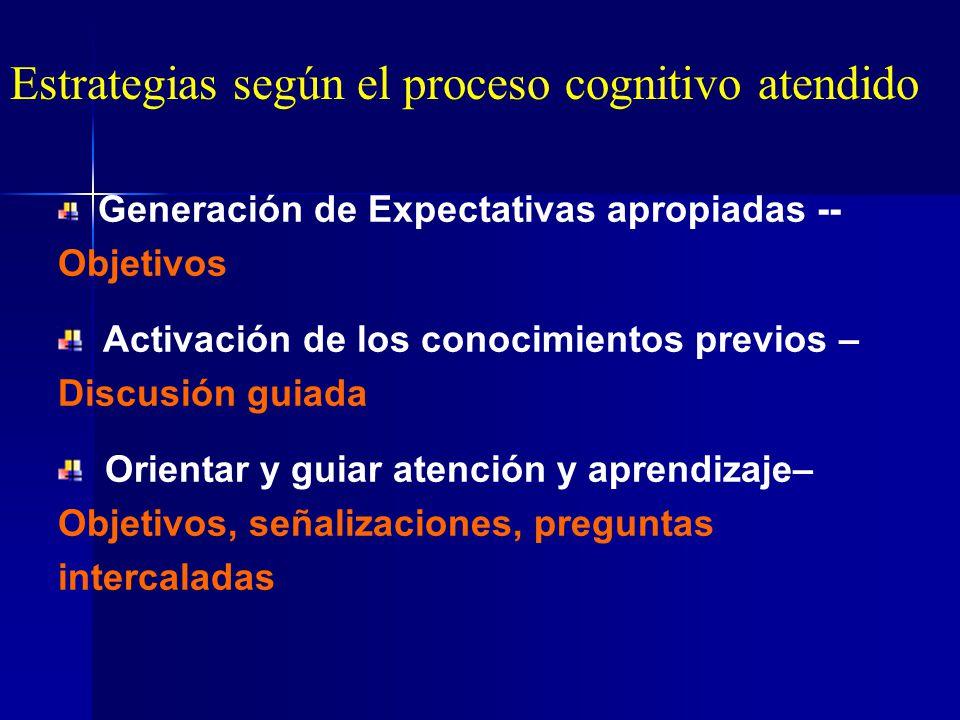 Estrategias según el proceso cognitivo atendido
