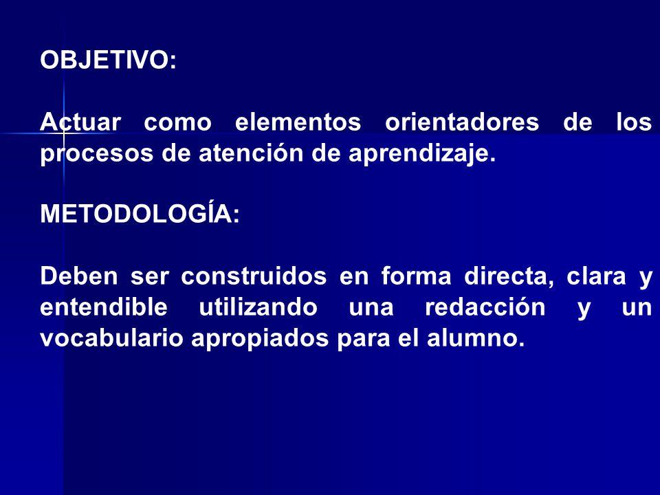 OBJETIVO: Actuar como elementos orientadores de los procesos de atención de aprendizaje. METODOLOGÍA: