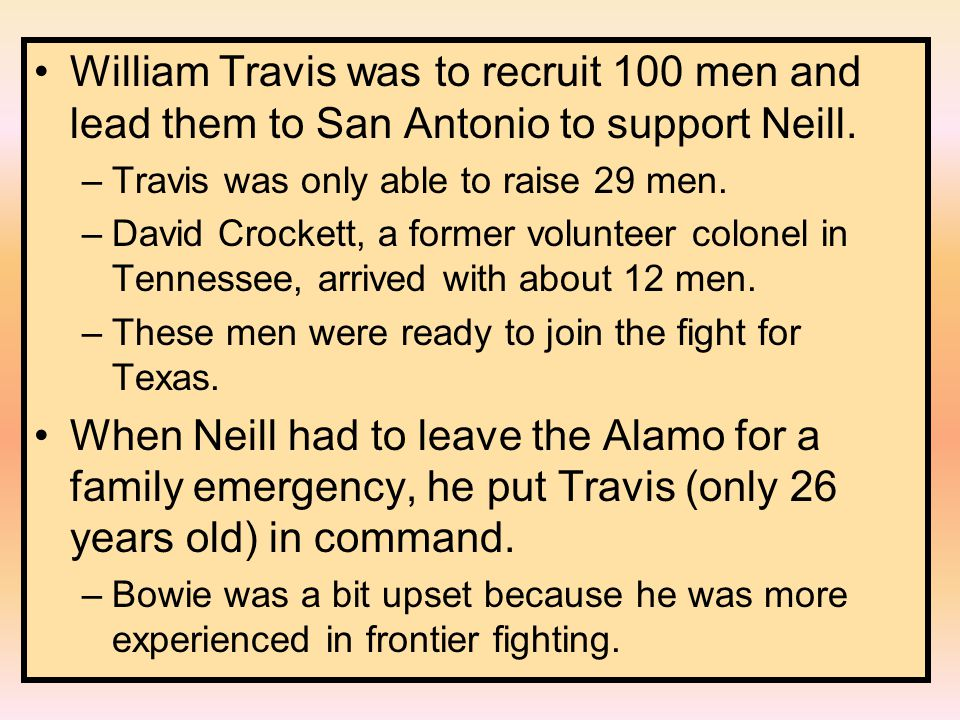 William Travis was to recruit 100 men and lead them to San Antonio to support Neill.