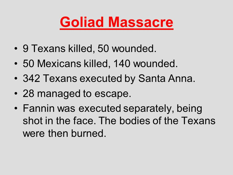 Goliad Massacre 9 Texans killed, 50 wounded.