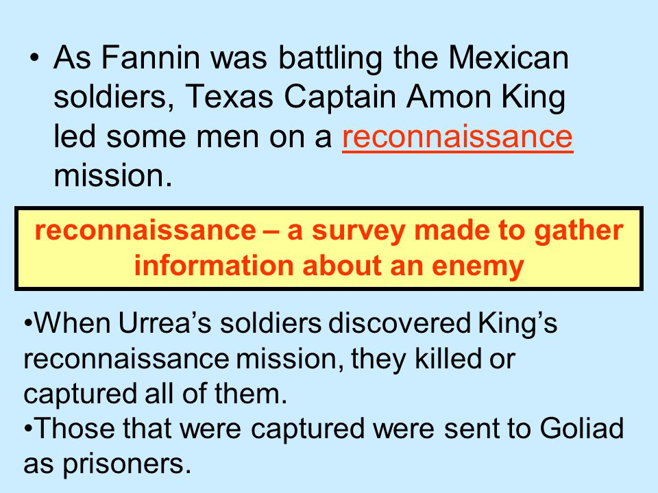 reconnaissance – a survey made to gather information about an enemy