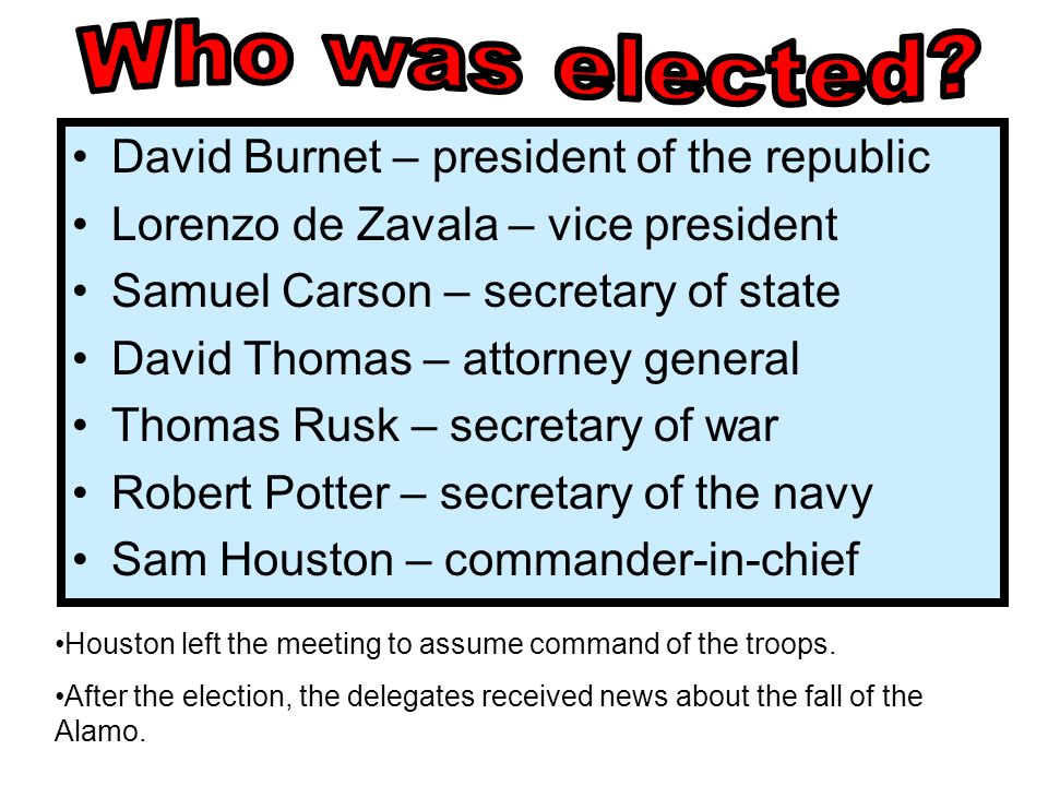 Who was elected David Burnet – president of the republic