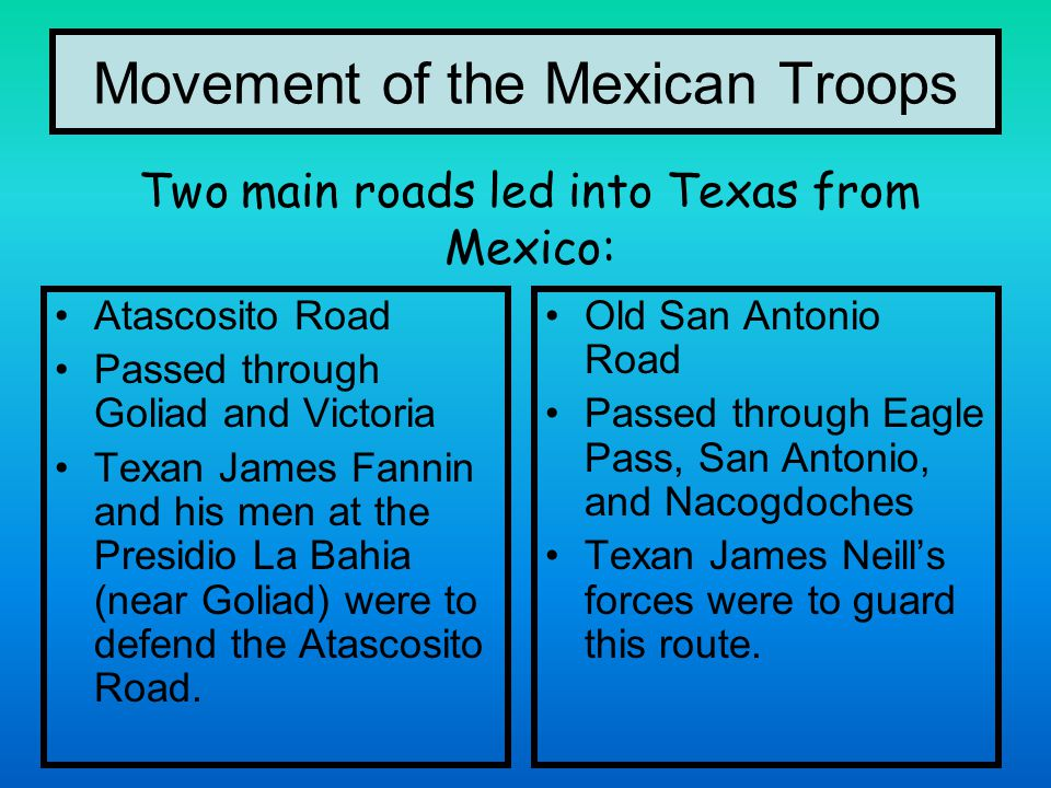 Movement of the Mexican Troops