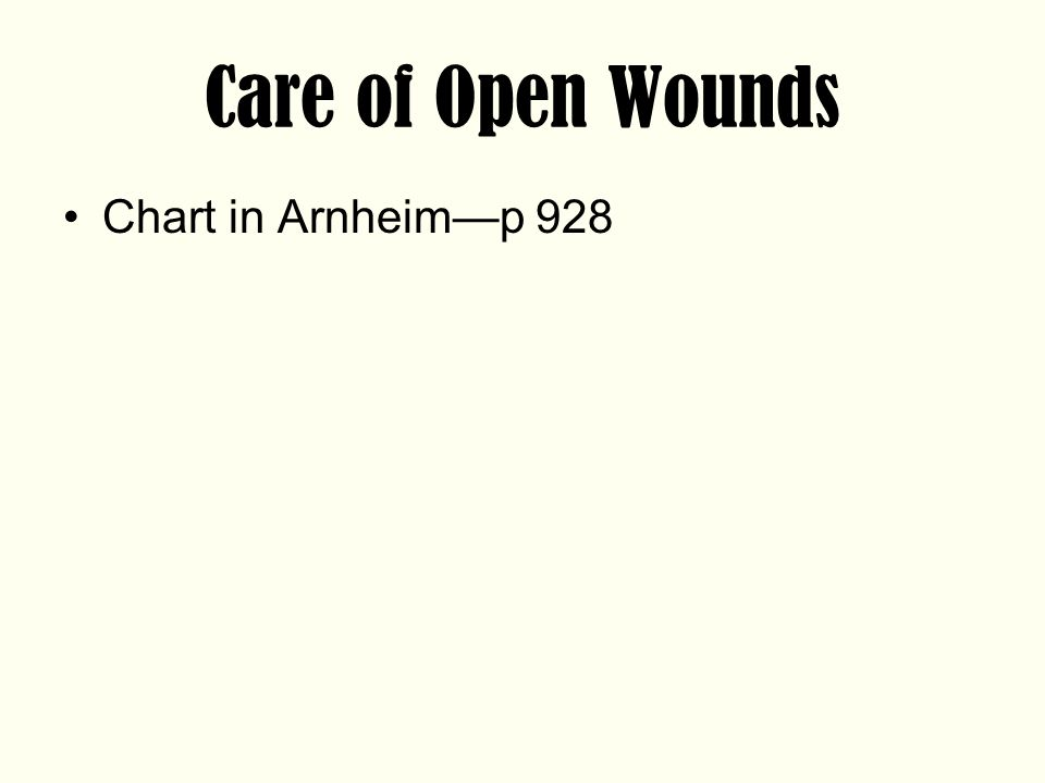 Care of Open Wounds Chart in Arnheim—p 928