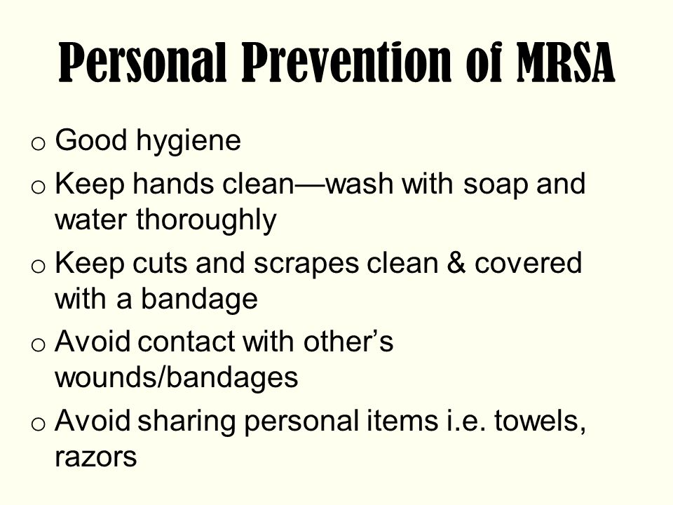 Personal Prevention of MRSA