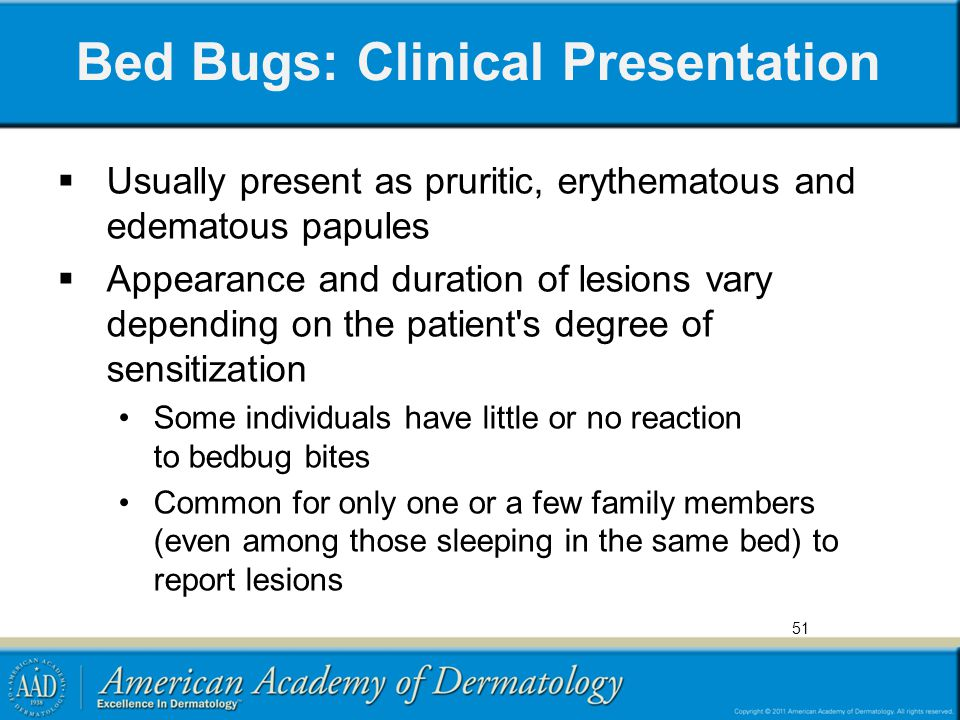 Bed Bugs: Clinical Presentation