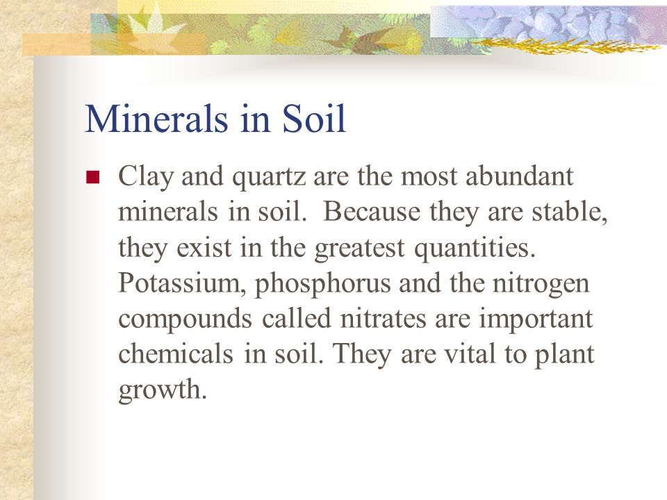 Weathering and soil formation ppt video online download for What are the minerals found in soil