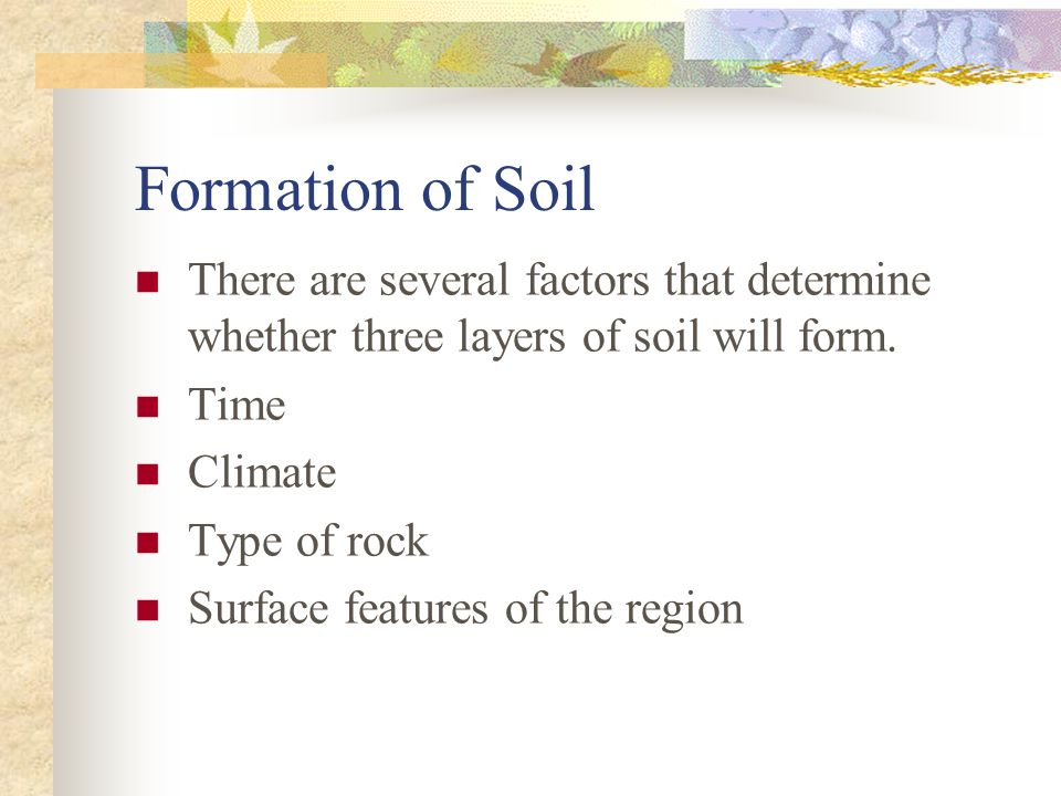 Formation of Soil There are several factors that determine whether three layers of soil will form. Time.