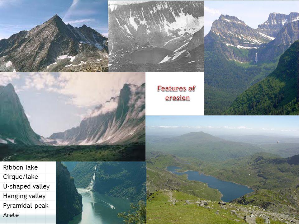 Features of erosion Ribbon lake Cirque/lake U-shaped valley Hanging valley Pyramidal peak Arete